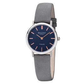 Regent F-1222 Ladies' Watch Titanium Grey Leather Strap Ø 27.5 mm