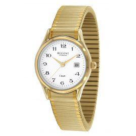 Regent F-894 Ladies' Watch with Elastic Bracelet Gold-Plated Ø 28 mm