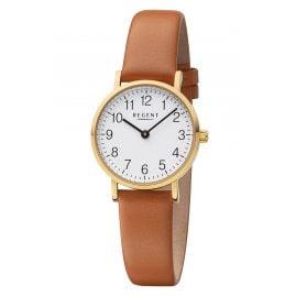 Regent F-1304 Damen-Armbanduhr Goldfarben mit Lederband Braun
