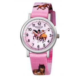 Regent F-729 Kids Watch for Girls Horses Pink Ø 30 mm