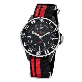 Regent F-1124 Kids Watch 5 Bar Water Resistant Black/Red Ø 36 mm