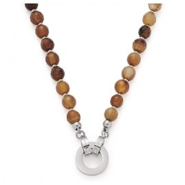 Leonardo 018403 Women's Necklace Fabia Clip&Mix Brown Agate