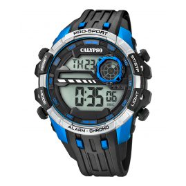 Calypso K5729/3 Digital Watch Alarm Chronograph Black/Blue