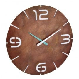 TFA 60.3536.08 Radio-Controlled Wall Clock Contour Rust Look