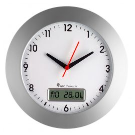 TFA 98.1092 Radio-Controlled Wall Clock with Date Silver/White