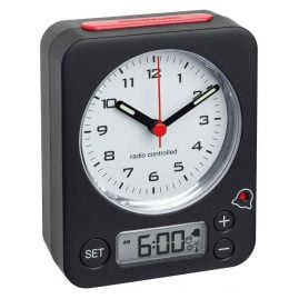 TFA 60.1511.01.05 Radio-Controlled Alarm Clock Combo Black/Red