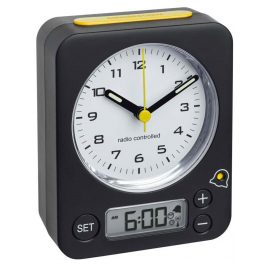 TFA 60.1511.01.07 Radio-Controlled Alarm Clock Combo Black/Yellow