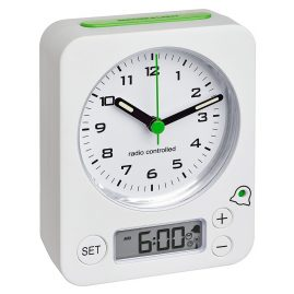 TFA 60.1511.02.04 Radio-Controlled Alarm Clock Combo White/Green