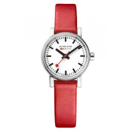 Mondaine MSE.26110.LC Ladies' Wristwatch with Red Leather Strap evo2
