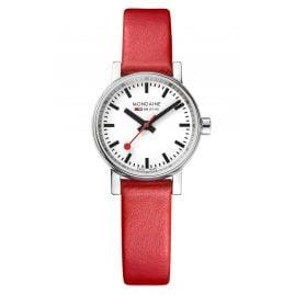 Mondaine MSE.26110.LC Damen-Armbanduhr mit rotem Lederband evo2