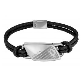 Police PJ26559BLS.01 Leather Bracelet for Men Matobo Black