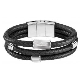 Police PEJGB2009021 Men's Bracelet Black Leather Vigan