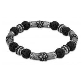 Police PEJGB2112401 Men's Bracelet Beads Black Lava Stone