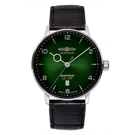 Zeppelin 8048-4 Men's Watch LZ129 Hindenburg Black Leather Strap / Green