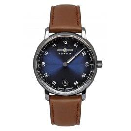Zeppelin 8643-3 Damen-Armbanduhr New Captain's Line Monotimer Braun/Blau