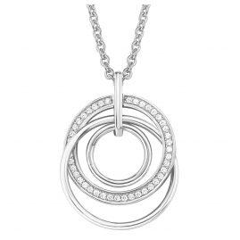 s.Oliver 2015123 Damen-Silberkette mit Ring-Anhänger