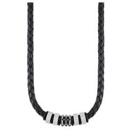 s.Oliver 2027437 Leather Men's Necklace Black
