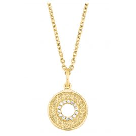 s.Oliver 2027621 Ladies Pendant Necklace Gold Plated Silver Zirconia