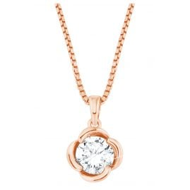 s.Oliver 2027674 Silver Necklace for Ladies Blossom rose gold Zirconia