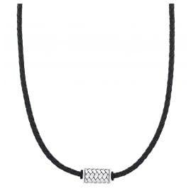 s.Oliver 2031537 Damen-Halskette Leder Schwarz