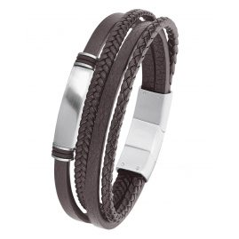 s.Oliver 2022621 Men's Leather Bracelet Brown