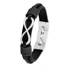 s.Oliver 2026136 Men's Leather Bracelet Black