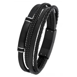 s.Oliver 2026001 Leather Men's Bracelet Black