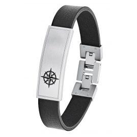s.Oliver 2026134 Leder Herren-Armband Ident Kompass