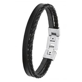s.Oliver 2027411 Leather Men's Bracelet Black
