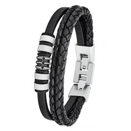s.Oliver 2027438 Leather Men's Bracelet Black
