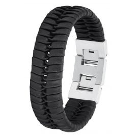 s.Oliver 2027439 Men's Leather Bracelet Black