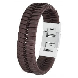 s.Oliver 2027440 Men's Leather Bracelet Brown