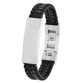 s.Oliver 2027442 Men's Leather Bracelet Black