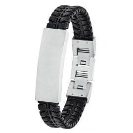 s.Oliver 2027442 Herren Leder-Armband Schwarz