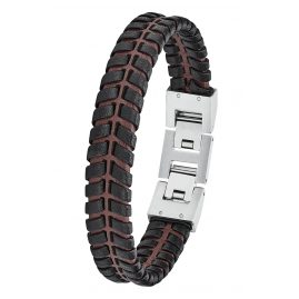 s.Oliver 2027443 Men's Leather Bracelet Black/Brown
