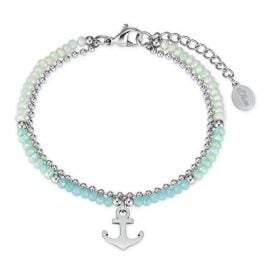 s.Oliver 2027599 Ladies' Bracelet Anchor Stainless Steel Glass Beads