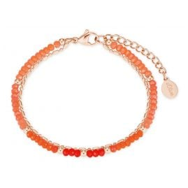 s.Oliver 2027601 Damen-Armband Armkettchen roségold IP Edelstahl Glasperlen