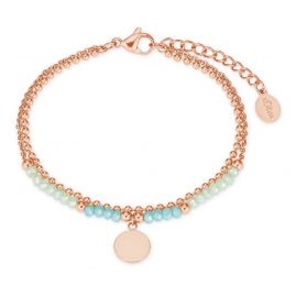 s.Oliver 2027602 Women's Bracelet Stainless Steel Glass Beads Rose / Turquoise