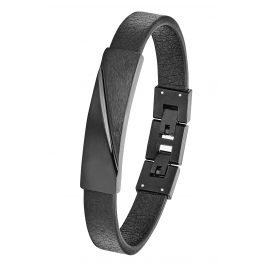 s.Oliver 2028439 Men's Leather Bracelet Black