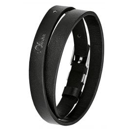 s.Oliver 2028442 Men's Wrap Bracelet Black Leather