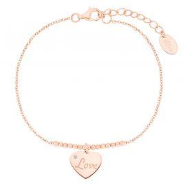 s.Oliver 2031419 Damen-Armband Herz Silber rosévergoldet
