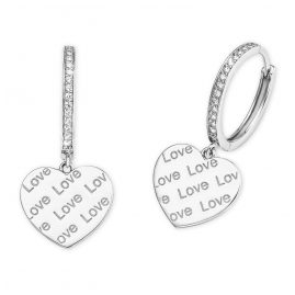 s.Oliver 2026088 Silver Hoop Earrings with Heart