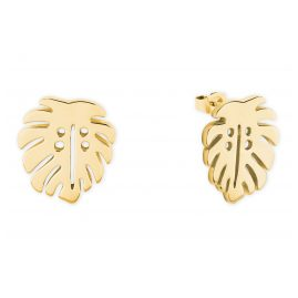 s.Oliver 2027560 Ladies' Stud Earrings Leaf Gold Plated Silver