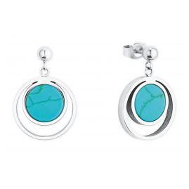 s.Oliver 2027575 Silver Drop Earrings Stainless Steel turquoise