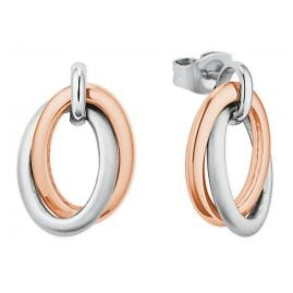 s.Oliver 2027616 Ladies' Drop Earrings Stainless Steel Two-Colour Rose
