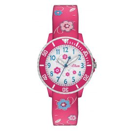 s.Oliver SO-2990-PQ Girls Watch Pink Flowers
