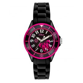 s.Oliver SO-2993-PQ Girls Watch Butterfly Black/Pink