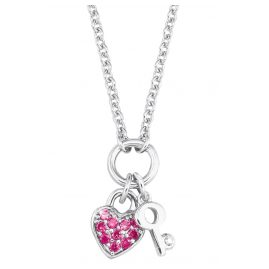 s.Oliver 2024210 Silver Girls' Necklace with Heart/Key Pendant