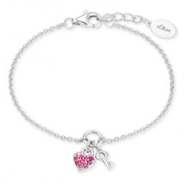 s.Oliver 2024213 Silver Girls' Bracelet with Heart/Key