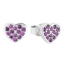 s.Oliver 2028450 Children's Stud Earrings Heart Silver Purple